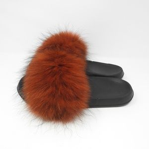 Shoes - Red Fur Slides Slippers Black NWOT